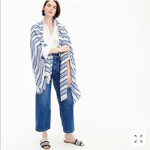 J. Crew summerweight cape scarf in blue stripe NWT